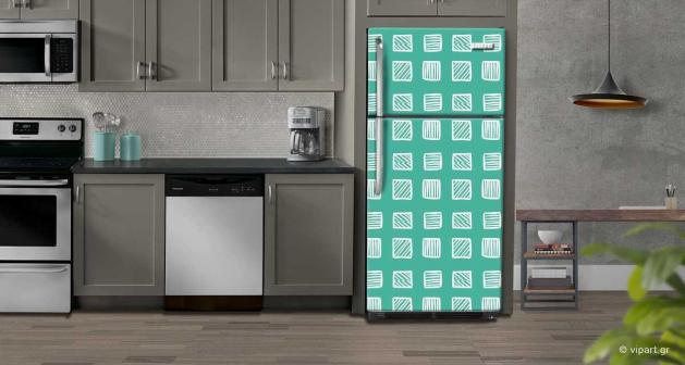 """Αυτοκόλλητο Ψυγείου """" Retro Style Geometric Squares """""""