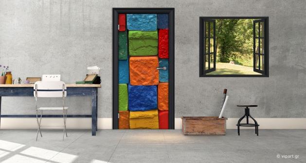 """Αυτοκόλλητο Πόρτας """" Χρωματιστές Πέτρες """""""