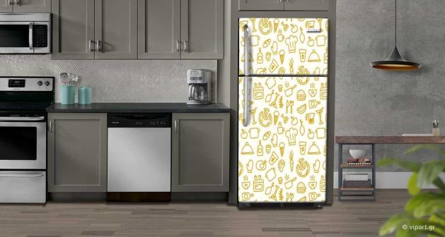"""Αυτοκόλλητο Ψυγείου """"Sketch Kitchen"""""""