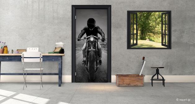 """Αυτοκόλλητο Πόρτας """"Motorcycle Rider"""""""