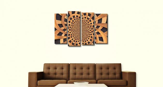 Καμβάς Τετράπτυχος Wooden Design