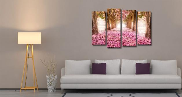 Καμβάς Τετράπτυχος Spring Pink Flowers