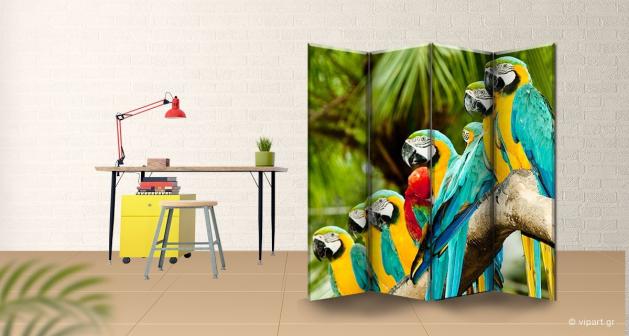 Παραβάν Τετράπτυχο Beautifull Macaw