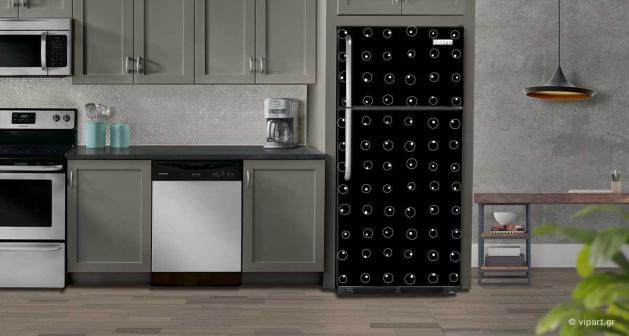 """Αυτοκόλλητο Ψυγείου """"Black & White Pattern"""""""