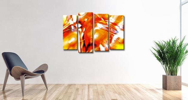 Καμβάς Τετράπτυχος Orange_Artistic_Paint