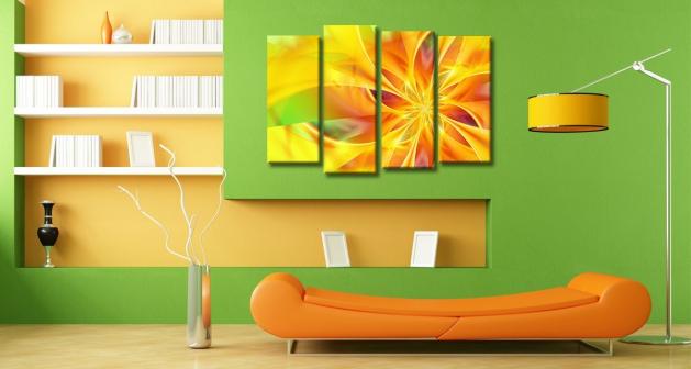 Καμβάς Τετράπτυχος Flower Orange Spiral