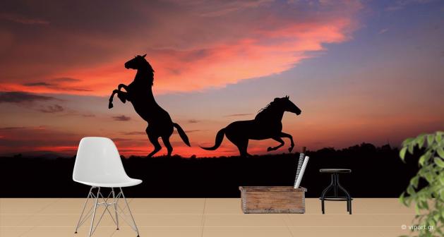 Ταπετσαρία Τοίχου Horses Sunset