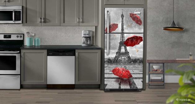 """Αυτοκόλλητο Ψυγείου """"Χιονισμένο Παρίσι Κόκκινες Ομπρέλες"""""""