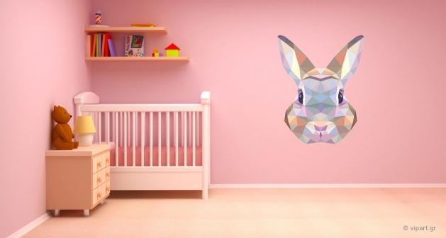 """Αυτοκόλλητο Τοίχου """"Triangle Rabbit"""""""