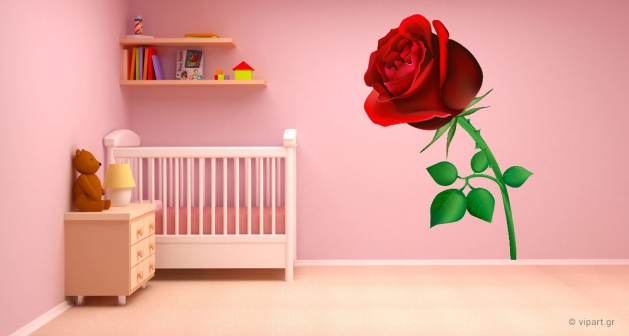 """Αυτοκόλλητο Τοίχου """"Red Rose"""""""