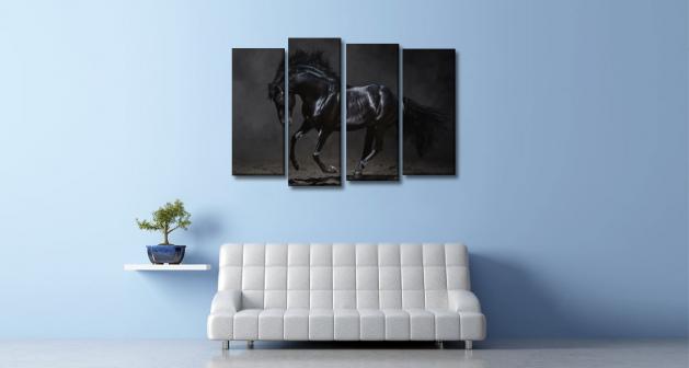 Καμβάς Τετράπτυχος Μαύρο Άλογο