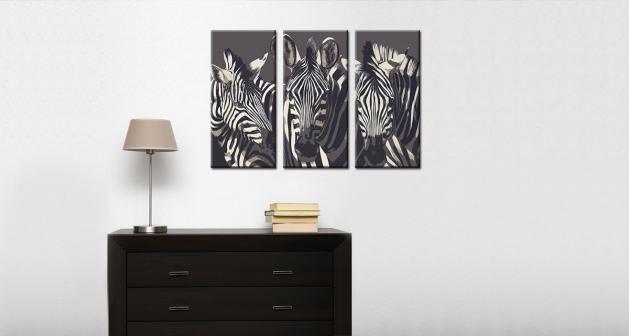 Καμβάς Τρίπτυχος Zebras