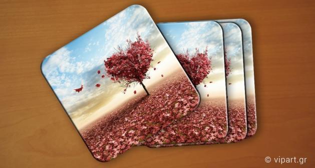 Σουβερ 6 τεμάχια Ροζ Δέντρο Καρδιά