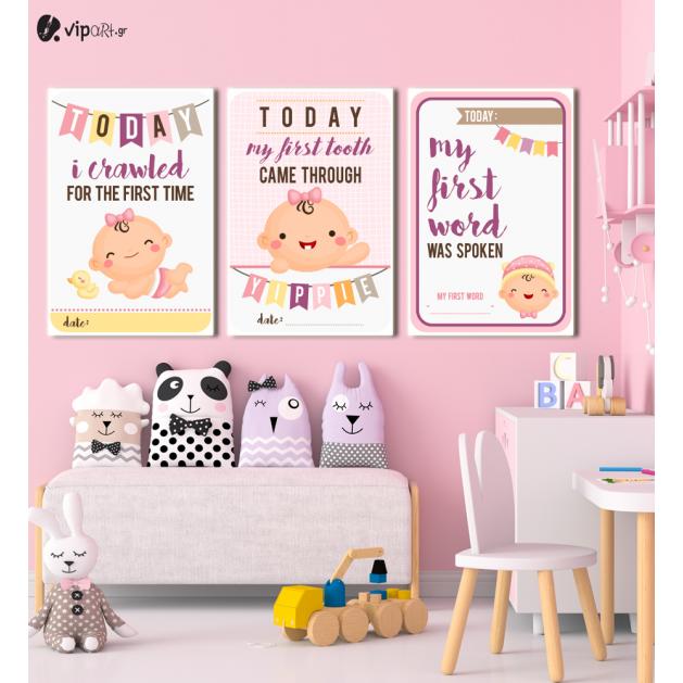 Σύνθεση Με Πίνακες Καμβάδες 60x40 - 3 Τεμάχια - Baby Girl με δικά σας στοιχεία