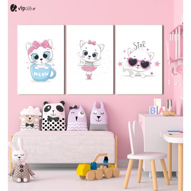 Σύνθεση Με Πίνακες Καμβάδες 60x40 - 3 Τεμάχια - Little Cute Kitty