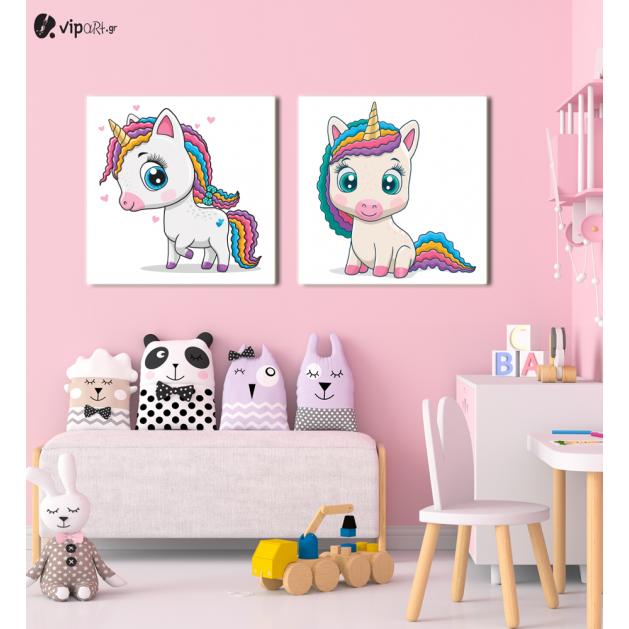 Σύνθεση Με Πίνακες Καμβάδες 60x60 - 2 Τεμάχια - Little Cute Unicorn