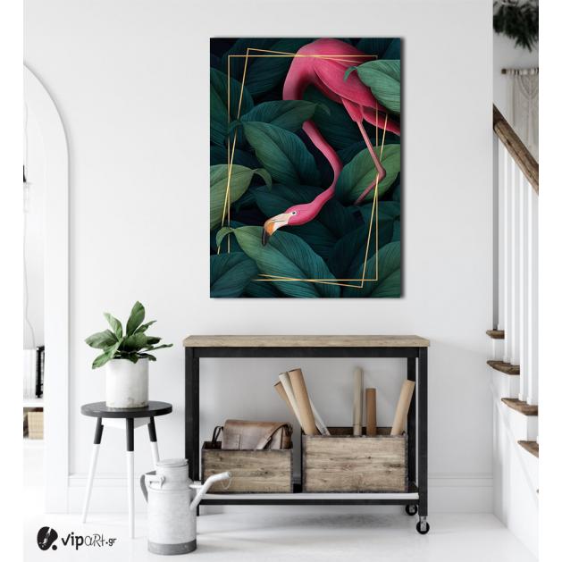 Πίνακας Καμβάς Pink flamingo- Gold frame