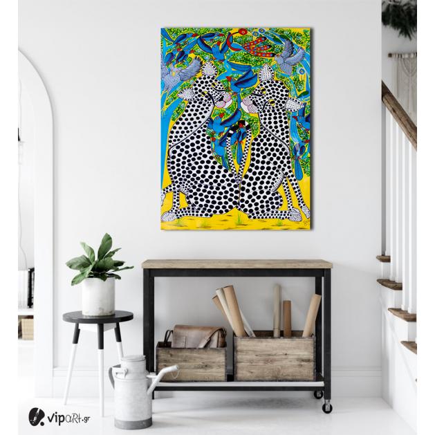 Πίνακας Καμβάς Colorful Leopards