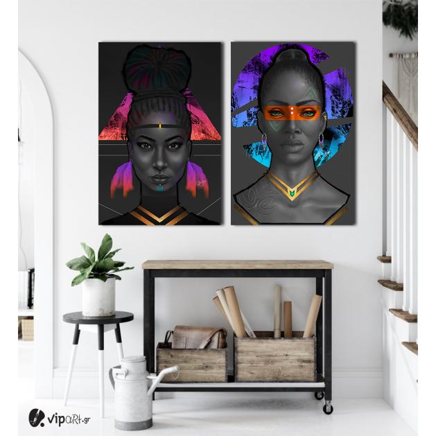 Σύνθεση με πίνακες Καμβάδες : Portrait Women seductive look - 2 Τεμάχια 70x 50