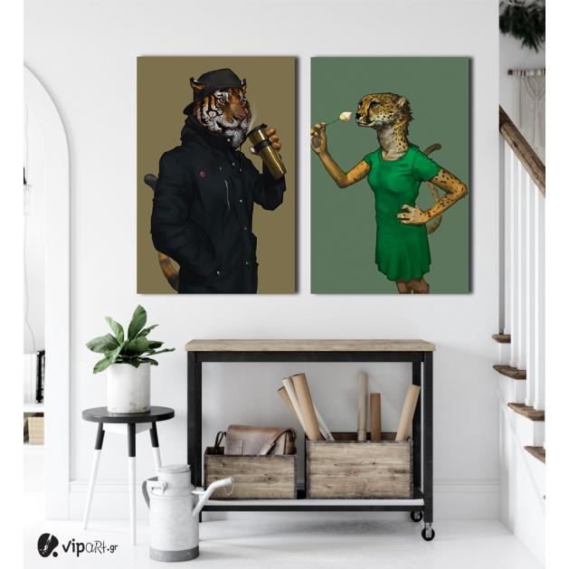 Σύνθεση με πίνακες Καμβάδες : Animals flirting - 2 Τεμάχια 70x 50
