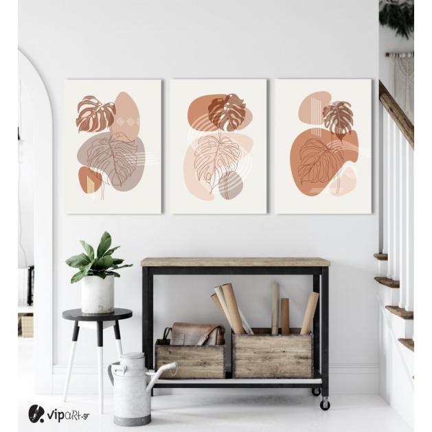 Σύνθεση Με Πίνακες Καμβάδες 70x50 - 3 Τεμάχια - Modern Abstract Boho Leaves