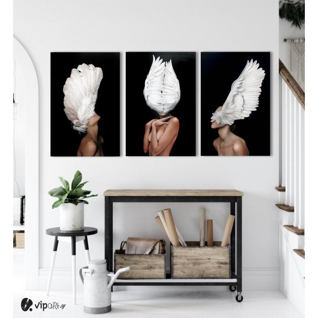 Σύνθεση Με Πίνακες Καμβάδες 60x40 - 3 Τεμάχια - Angel Woman