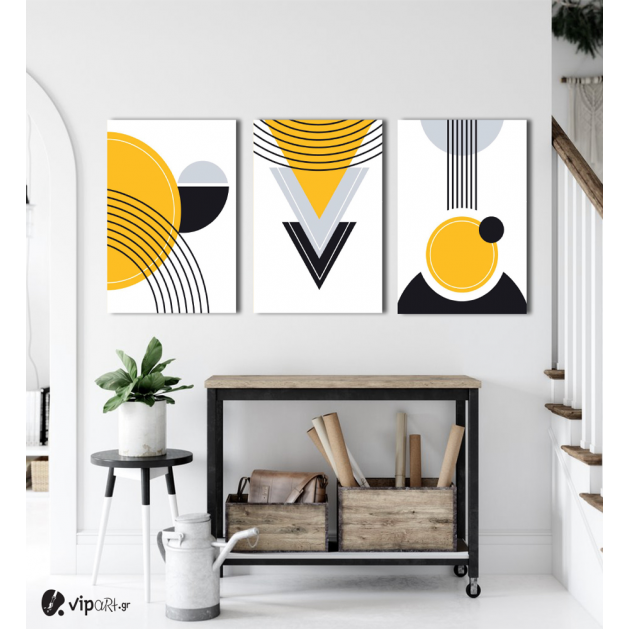 Σύνθεση Με Πίνακες Καμβάδες 60x40 - 3 Τεμάχια - Black & Yellow Art