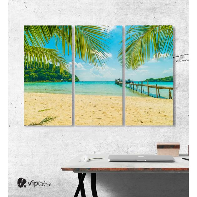 Καμβάς Τρίπτυχος Πίνακας Beach with Palm Trees
