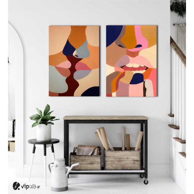 Σύνθεση με πίνακες Καμβάδες : Abstract Art Lips  - 2 Τεμάχια 70x 50