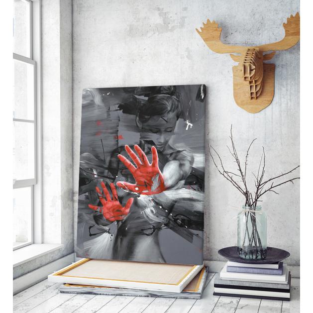 Πίνακας Καμβάς Woman Paint Art Red