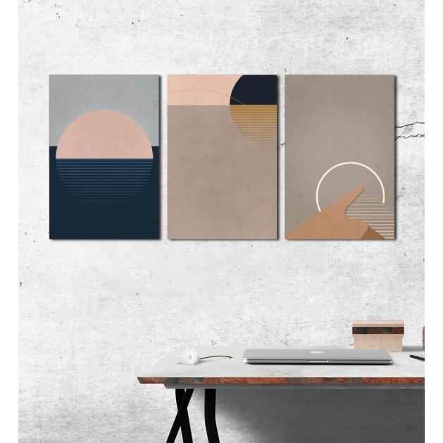 Σύνθεση Με Πίνακες Καμβάδες 60x40 - 3 Τεμάχια - Minimal Brown Art