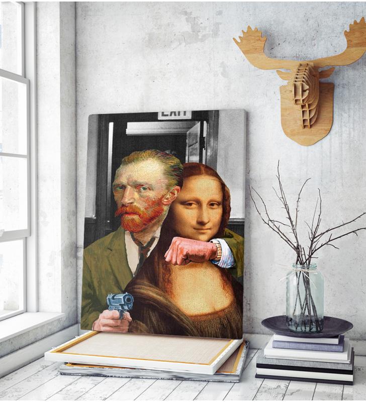 Πίνακας σε Καμβά Van Gogh and Mona Lisa
