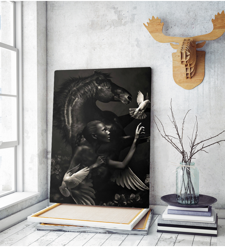 Πίνακας σε Καμβά Woman with Black Horse