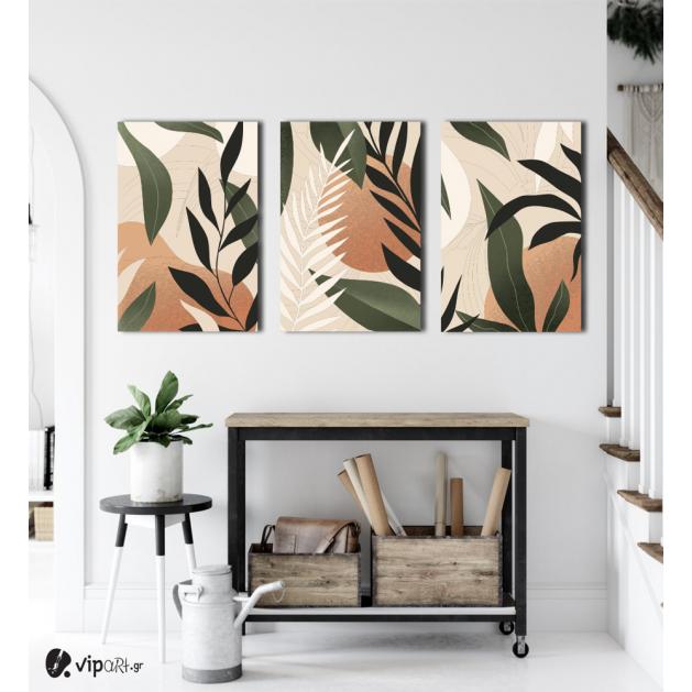 Σύνθεση Με Πίνακες Καμβάδες 60x40 - 3 Τεμάχια - Green Leaves