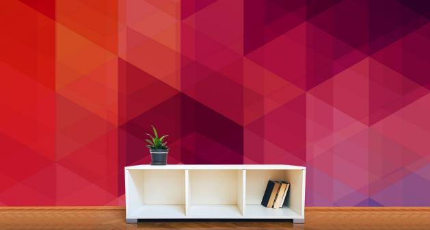 Ταπετσαρία Τοίχου Πολύγωνα Κόκκινο - Μώβ