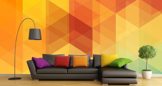 Ταπετσαρία Τοίχου Πολύγωνα Πορτοκαλί - Κίτρινο - Πράσινο