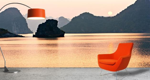 Ταπετσαρία Τοίχου Ηλιοβασίλεμα Βράχια Θάλασσα
