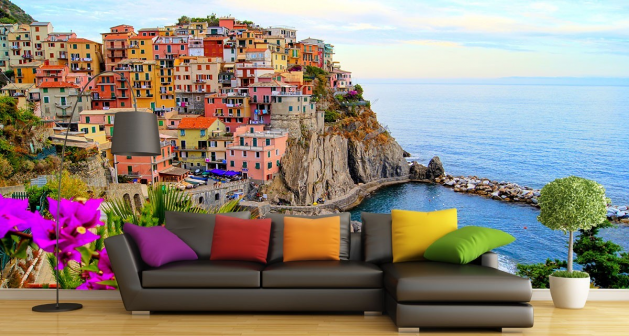 Ταπετσαρία Τοίχου Θέα με πολύχρωμμα σπίτια χτισμένα σε βουνό