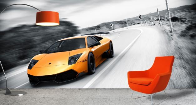 Ταπετσαρία Τοίχου Αυτοκίνητα Lamborghini επιλεκτικό χρώμα