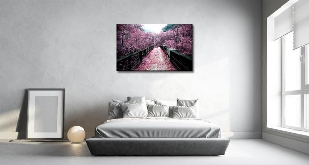 Καμβάς Ροζ Δέντρα Γέφυρα