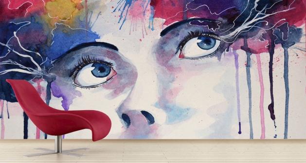 Ταπετσαρία Τοίχου Colorful Art Eyes Modern Πολύχρωμο