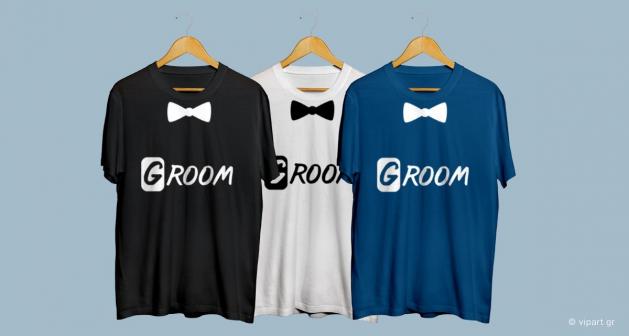 Εκτύπωση σε μπλουζάκι Groom Married Bachelor