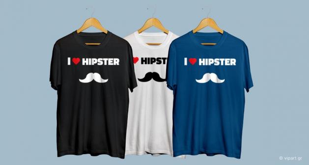 Εκτύπωση σε μπλουζάκι I Love Hipster Style