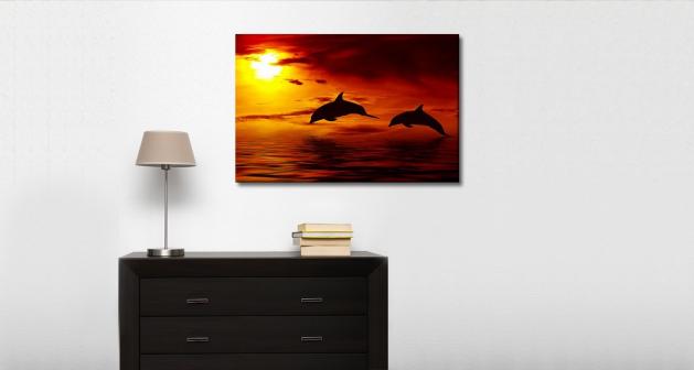 Καμβάς Δελφίνια Ηλιοβασίλεμα