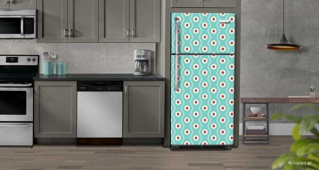 """Αυτοκόλλητο Ψυγείου """" Retro Style Gometriko Eksagwno """""""