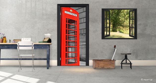 """Αυτοκόλλητο Πόρτας """" London Telephone """""""