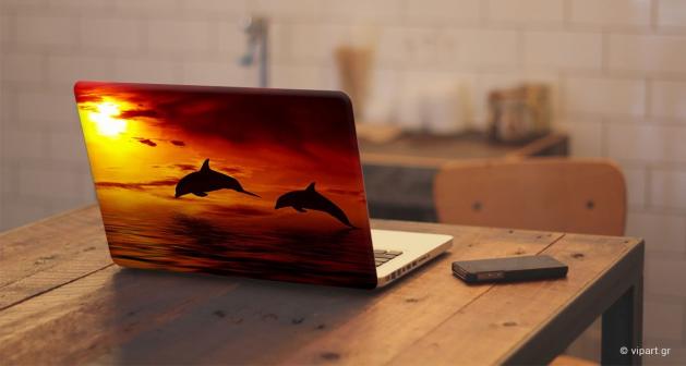 """Αυτοκόλλητο Λάπτοπ """" Sunset Dolphins """""""
