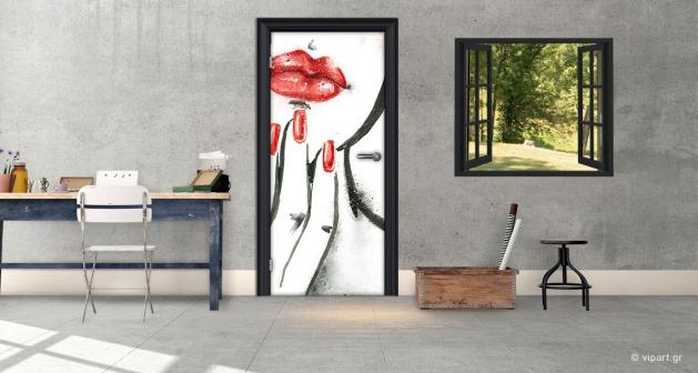 """Αυτοκόλλητο Πόρτας """" Woman Lips Red """""""