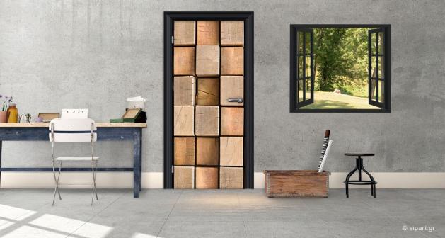 """Αυτοκόλλητο Πόρτας """" Wooden Cubes"""""""
