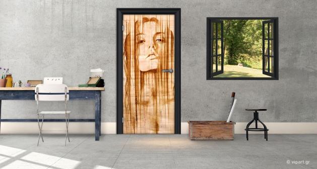 """Αυτοκόλλητο Πόρτας """"Girl Artistic"""""""